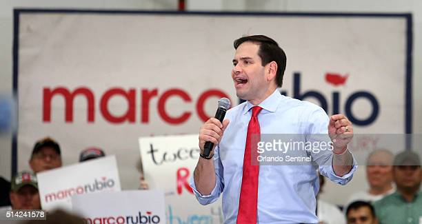 Marco Rubio speaks at his rally at Sanford International Airport in Sanford Fla on Monday March 7 2016