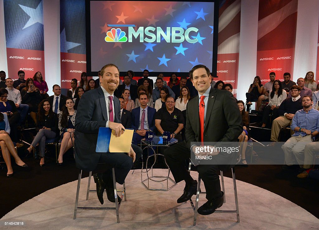 COVERAGE -- Marco Rubio Town Hall -- Pictured: (l-r) Chuck Todd and Senator Marco Rubio appear during an MSNBC Marco Rubio Town Hall at Florida International University in Miami --