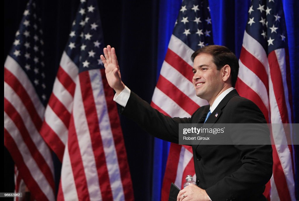 Marco Rubio waves to attendees at the annual Conservative Political Action Conference on February 18 2010 in Washington DC Rubio is a Republican...