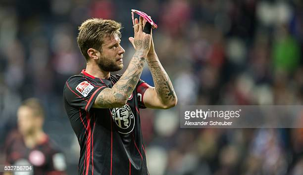 Marco Russ of Eintracht Frankfurt thanks the fans during the bundesliga playoff between Eintracht Frankfurt and 1 FC Nuernberg at CommerzbankArena on...