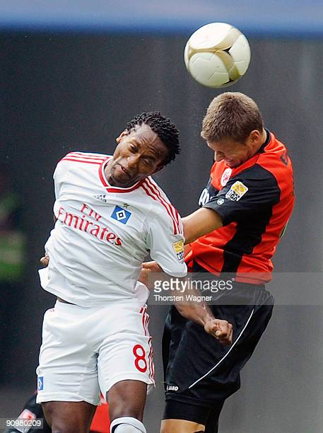 Marco Russ of Frankfurt battles for the ball with Ze Roberto of Hamburg during the Bundesliga match between Eintracht Frankfurt and Hamburger SV at...
