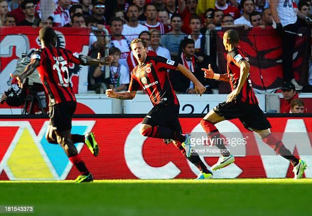 Marco Russ of Frankfurt celebrates his team's first goal during the Bundesliga match between VfB Stuttgart and Eintracht Frankfurt at MercedesBenz...