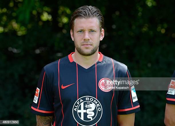 Marco Russ poses during the Eintracht Frankfurt team presentation on July 15 2015 in Frankfurt am Main Germany