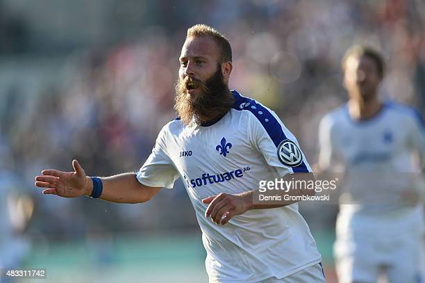 Marco Sailer of SV Darmstadt 98 celebrates as he scores the first goal during the DFB Cup First Round match between TuS Erndtebrueck and SV Darmstadt...