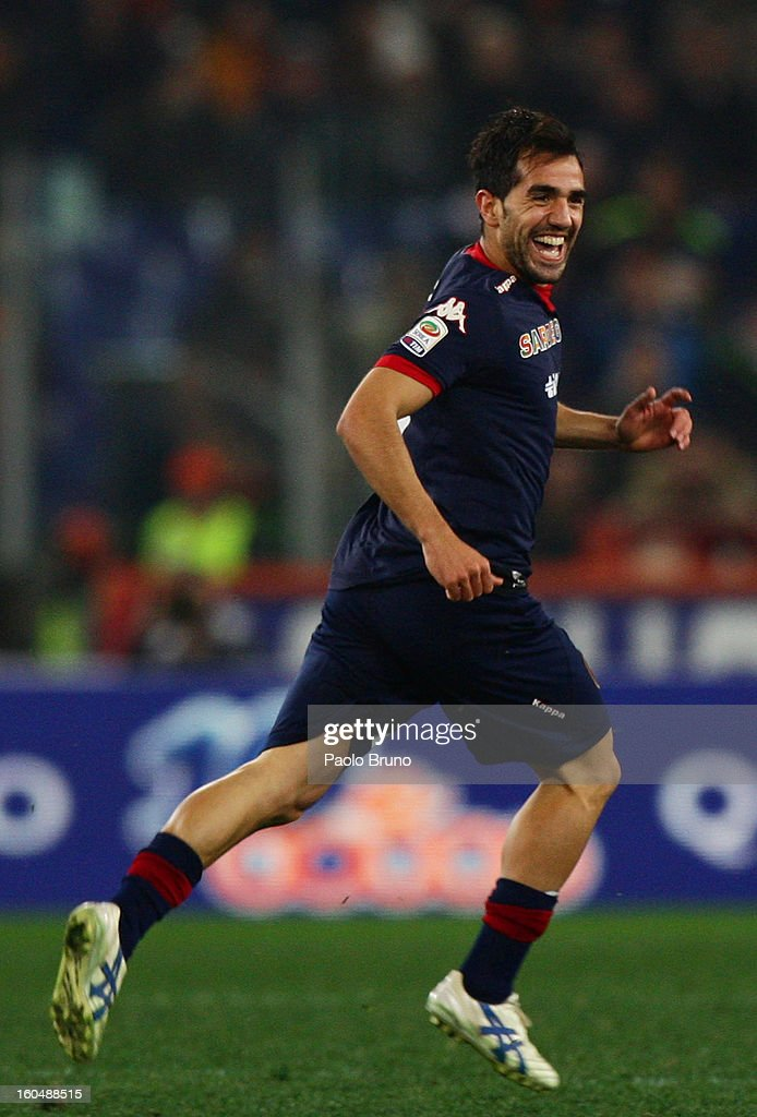 Marco Sau of Cagliari Calcio celebrates after scoring the third team's goal during the Serie A match between AS Roma and Cagliari Calcio at Stadio Olimpico on February 1, 2013 in Rome, Italy.