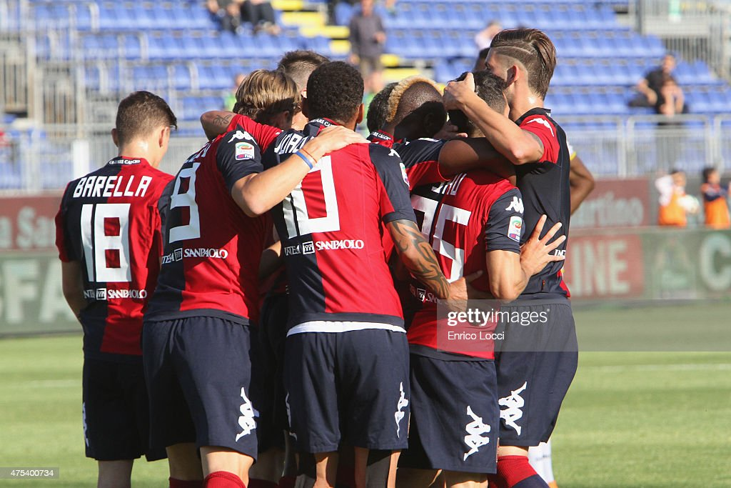 Marco Sau of Cagliari celebrated the goal 10 during the Serie A match between Cagliari Calcio and Udinese Calcio at Stadio Sant'Elia on May 31 2015...