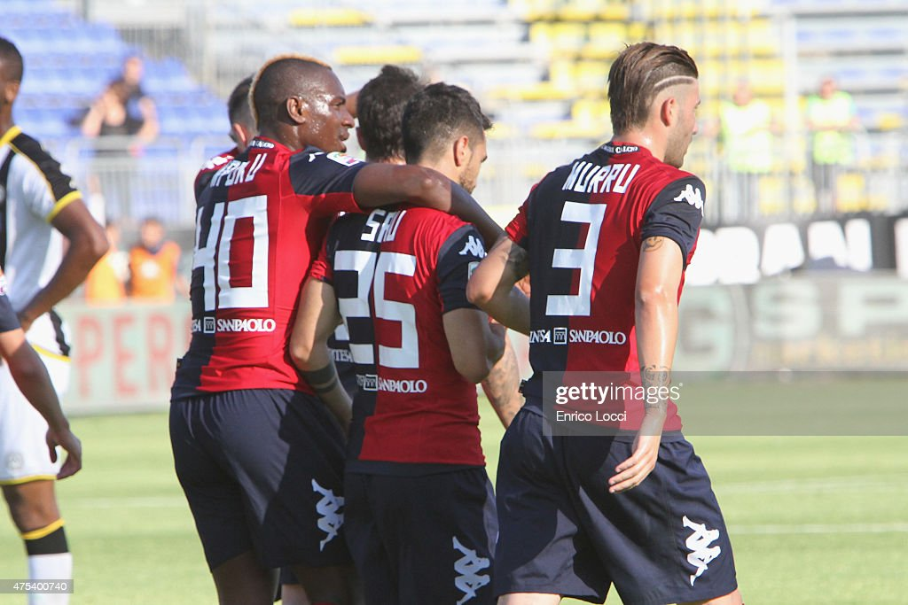 <a gi-track='captionPersonalityLinkClicked' href=/galleries/search?phrase=Marco+Sau&family=editorial&specificpeople=8343246 ng-click='$event.stopPropagation()'>Marco Sau</a> of Cagliari celebrated the goal 1-0 during the Serie A match between Cagliari Calcio and Udinese Calcio at Stadio Sant'Elia on May 31, 2015 in Cagliari, Italy.