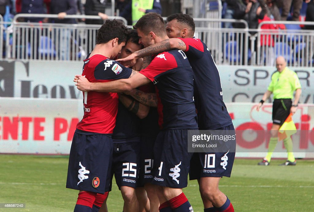 <a gi-track='captionPersonalityLinkClicked' href=/galleries/search?phrase=Marco+Sau&family=editorial&specificpeople=8343246 ng-click='$event.stopPropagation()'>Marco Sau</a> of Cagliari celebrated the goal 1-1 during the Serie A match between Cagliari Calcio and SS Lazio at Stadio Sant'Elia on April 4, 2015 in Cagliari, Italy.