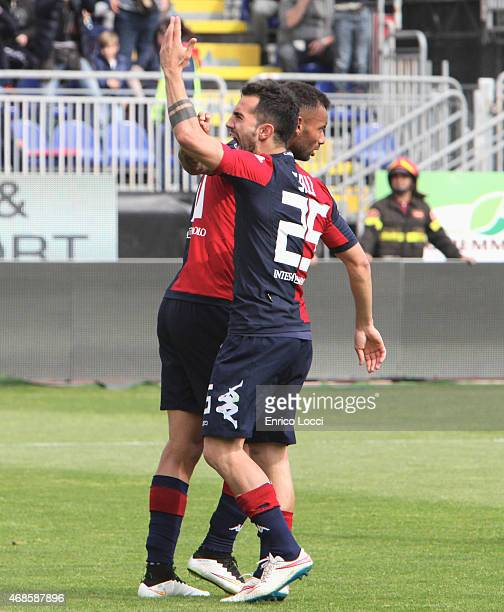 Marco sau of Cagliari celebrated the goal of 11 during the Serie A match between Cagliari Calcio and SS Lazio at Stadio Sant'Elia on April 4 2015 in...
