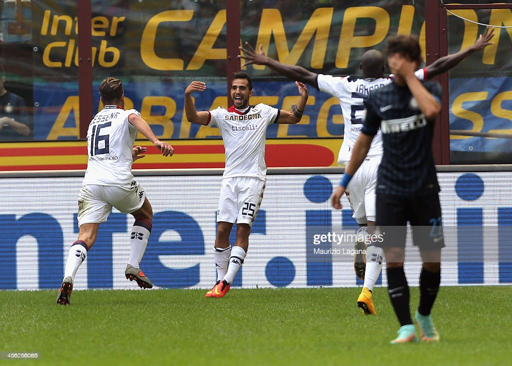 Marco Sau of Cagliari celebrates after scoring his team's opening goal during the Serie A match between FC Internazionale Milano and Cagliari Calcio...