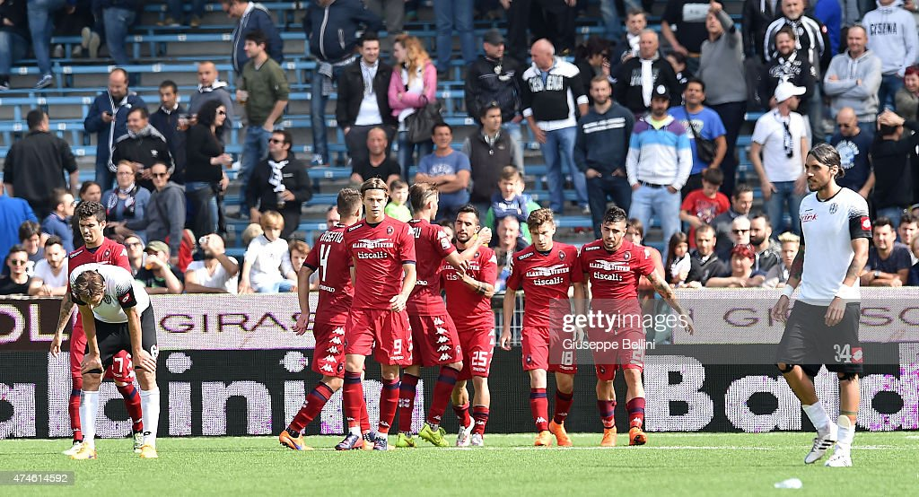 <a gi-track='captionPersonalityLinkClicked' href=/galleries/search?phrase=Marco+Sau&family=editorial&specificpeople=8343246 ng-click='$event.stopPropagation()'>Marco Sau</a> of Cagliari celebrates after scoring the opening goal during the Serie A match between AC Cesena and Cagliari Calcio at Dino Manuzzi Stadium on May 24, 2015 in Cesena, Italy.