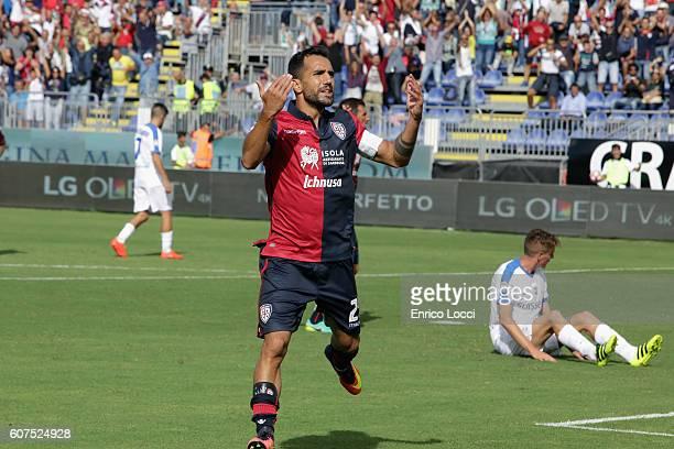 Marco Sau of Cagliari celebrates his goal during the Serie A match between Cagliari Calcio and Atalanta BC at Stadio Sant'Elia on September 18 2016...