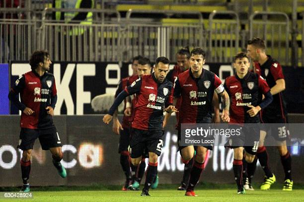 Marco Sau of Cagliari celebrates the goal during the Serie A match between Cagliari Calcio and US Sassuolo at Stadio Sant'Elia on December 22 2016 in...