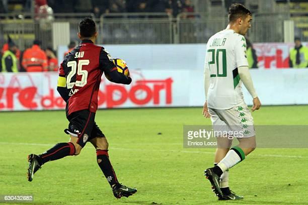 CAGLIARI ITALY DECEMBER Marco Sau of Cagliari celebrates the goal during the Serie A match between Cagliari Calcio and US Sassuolo at Stadio...