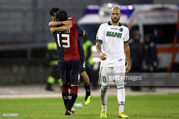 Marco Sau of Cagliari celebrates with the teammates after scoring their second during the Serie A match between Cagliari Calcio and US Sassuolo...
