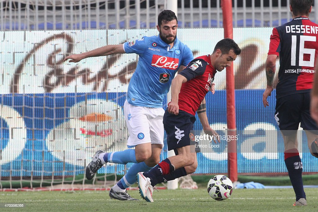 <a gi-track='captionPersonalityLinkClicked' href=/galleries/search?phrase=Marco+Sau&family=editorial&specificpeople=8343246 ng-click='$event.stopPropagation()'>Marco Sau</a> of Cagliari in action during the Serie A match between at Stadio Sant'Elia on April 19, 2015 in Cagliari, Italy.