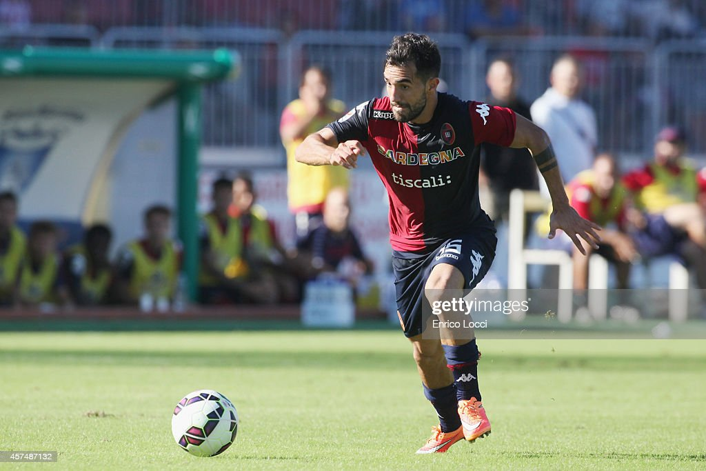 <a gi-track='captionPersonalityLinkClicked' href=/galleries/search?phrase=Marco+Sau&family=editorial&specificpeople=8343246 ng-click='$event.stopPropagation()'>Marco Sau</a> of Cagliari in action during the Serie A match between Cagliari Calcio and UC Sampdoria at Stadio Sant'Elia on October 19, 2014 in Cagliari, Italy.