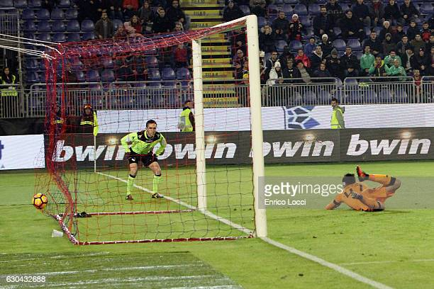 Marco Sau of Cagliari scores the goal during the Serie A match between Cagliari Calcio and US Sassuolo at Stadio Sant'Elia on December 22 2016 in...