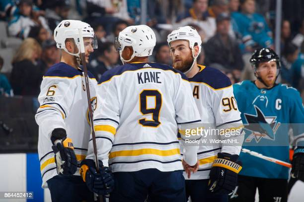 Marco Scandella Evander Kane and Ryan O'Reilly of the Buffalo Sabres chat during a NHL game against the San Jose Sharks at SAP Center on October 12...
