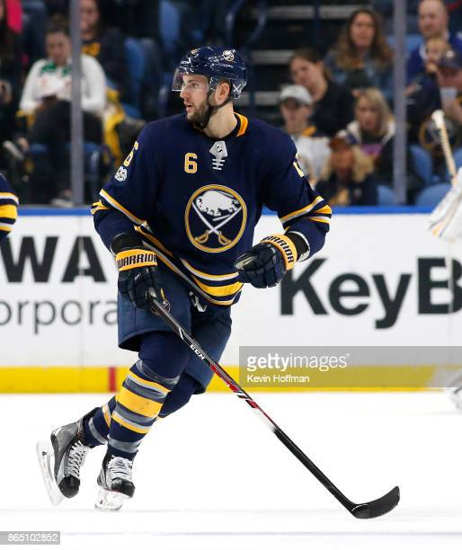 Marco Scandella of the Buffalo Sabres during the game against the Vancouver Canucks at the KeyBank Center on October 20 2017 in Buffalo New York