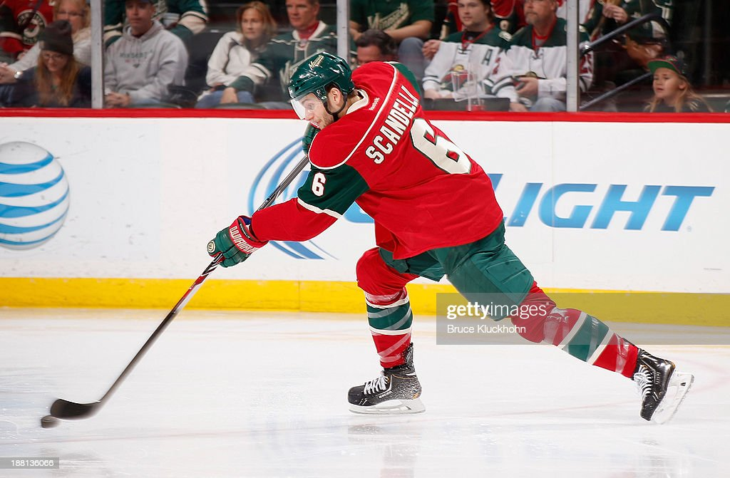 <a gi-track='captionPersonalityLinkClicked' href=/galleries/search?phrase=Marco+Scandella&family=editorial&specificpeople=5408903 ng-click='$event.stopPropagation()'>Marco Scandella</a> #6 of the Minnesota Wild takes a shot against the Florida Panthers during the game on November 15, 2013 at the Xcel Energy Center in St. Paul, Minnesota.