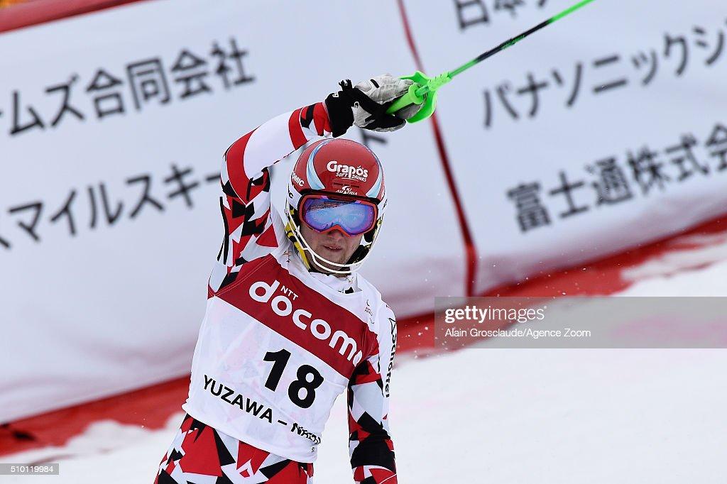 Marco Schwarz of Austria celebrates during the Audi FIS Alpine Ski World Cup Men's Slalom on February 14, 2016 in Naeba, Japan.