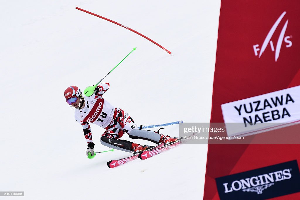 Marco Schwarz of Austria competes during the Audi FIS Alpine Ski World Cup Men's Slalom on February 14, 2016 in Naeba, Japan.
