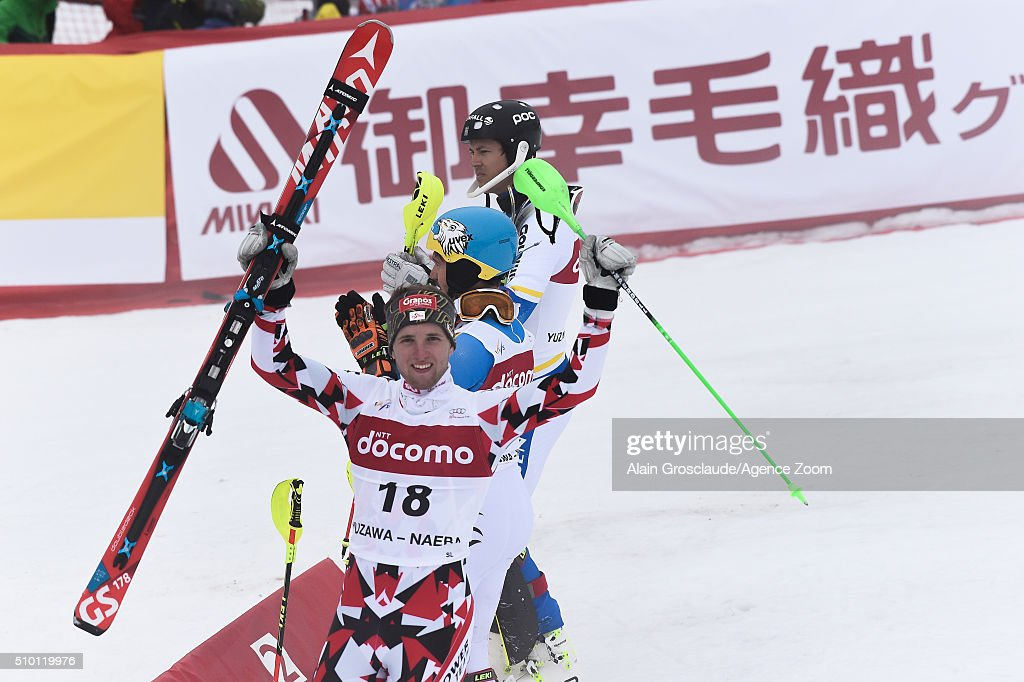 Marco Schwarz of Austria takes 3rd place during the Audi FIS Alpine Ski World Cup Men's Slalom on February 14, 2016 in Naeba, Japan.