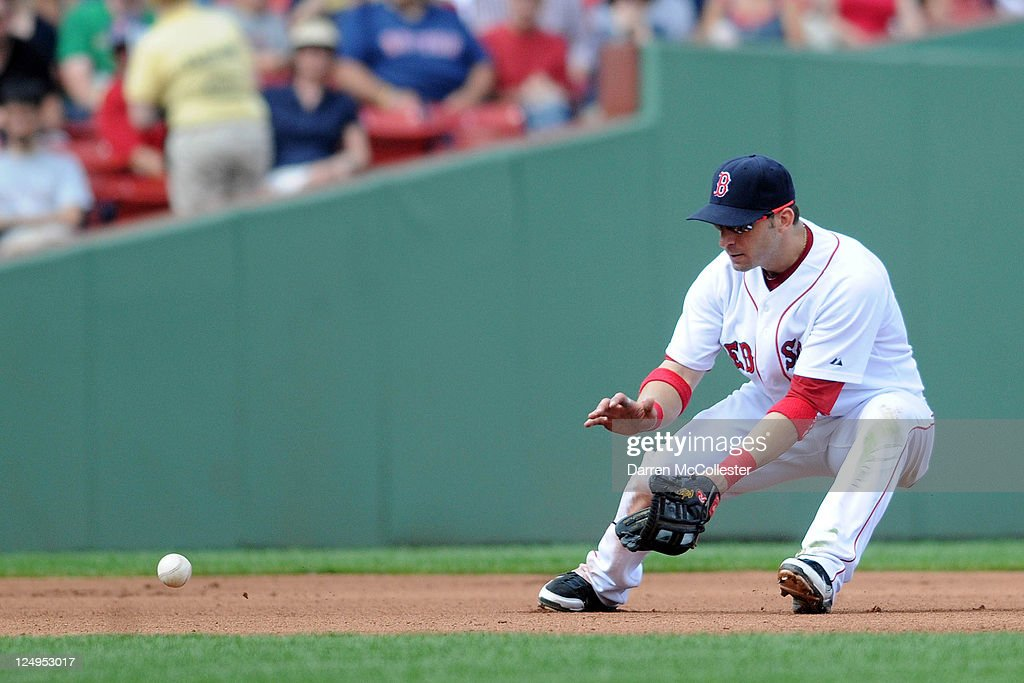 <a gi-track='captionPersonalityLinkClicked' href=/galleries/search?phrase=Marco+Scutaro&family=editorial&specificpeople=239523 ng-click='$event.stopPropagation()'>Marco Scutaro</a> #10 of the Boston Red Sox fields a ground ball in the fourth inning against the Toronto Blue Jays at Fenway Park on September 14, 2011 in Boston, Massachusetts.