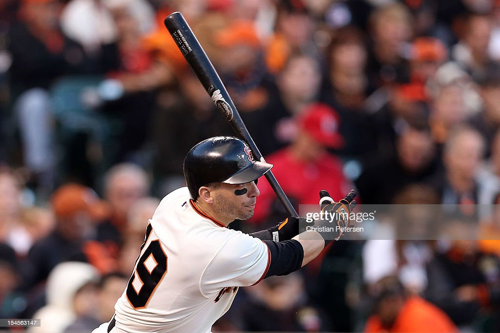 <a gi-track='captionPersonalityLinkClicked' href=/galleries/search?phrase=Marco+Scutaro&family=editorial&specificpeople=239523 ng-click='$event.stopPropagation()'>Marco Scutaro</a> #19 of the San Francisco Giants at bat against the St. Louis Cardinals in Game Six of the National League Championship Series at AT&T Park on October 21, 2012 in San Francisco, California.