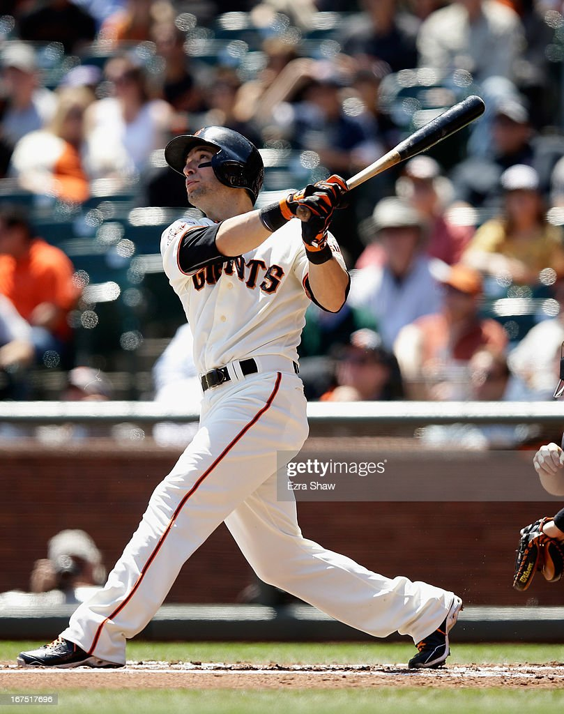 <a gi-track='captionPersonalityLinkClicked' href=/galleries/search?phrase=Marco+Scutaro&family=editorial&specificpeople=239523 ng-click='$event.stopPropagation()'>Marco Scutaro</a> #19 of the San Francisco Giants bats against the Arizona Diamondbacks at AT&T Park on April 24, 2013 in San Francisco, California.