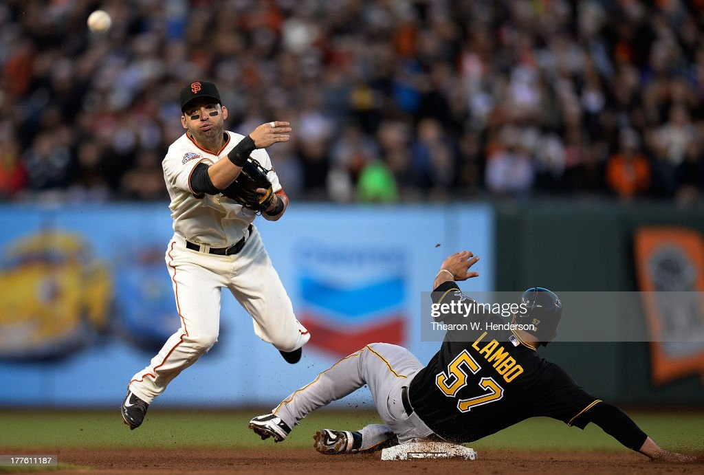 <a gi-track='captionPersonalityLinkClicked' href=/galleries/search?phrase=Marco+Scutaro&family=editorial&specificpeople=239523 ng-click='$event.stopPropagation()'>Marco Scutaro</a> #19 of the San Francisco Giants gets his throw off but not in time to complete the double-play as Andrew Lambo #57 of the Pittsburgh Pirates slides into second base in the fifth inning at AT&T Park on August 24, 2013 in San Francisco, California.