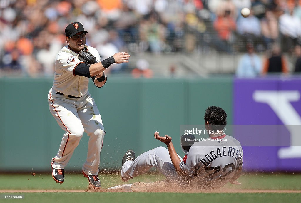 <a gi-track='captionPersonalityLinkClicked' href=/galleries/search?phrase=Marco+Scutaro&family=editorial&specificpeople=239523 ng-click='$event.stopPropagation()'>Marco Scutaro</a> #19 of the San Francisco Giants gets his throw off to complete the double play as Xander Bogaerts #72 of the Boston Red Sox slides into second base in the eighth inning at AT&T Park on August 21, 2013 in San Francisco, California.