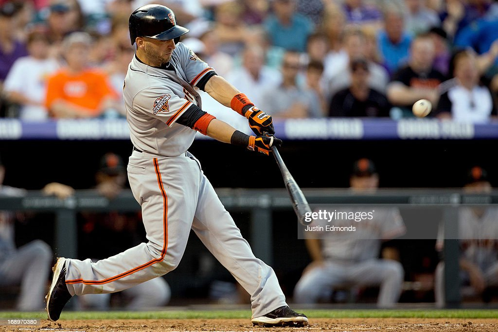 <a gi-track='captionPersonalityLinkClicked' href=/galleries/search?phrase=Marco+Scutaro&family=editorial&specificpeople=239523 ng-click='$event.stopPropagation()'>Marco Scutaro</a> #19 of the San Francisco Giants hits an RBI single during the second inning against the Colorado Rockies at Coors Field on May 17, 2013 in Denver, Colorado.