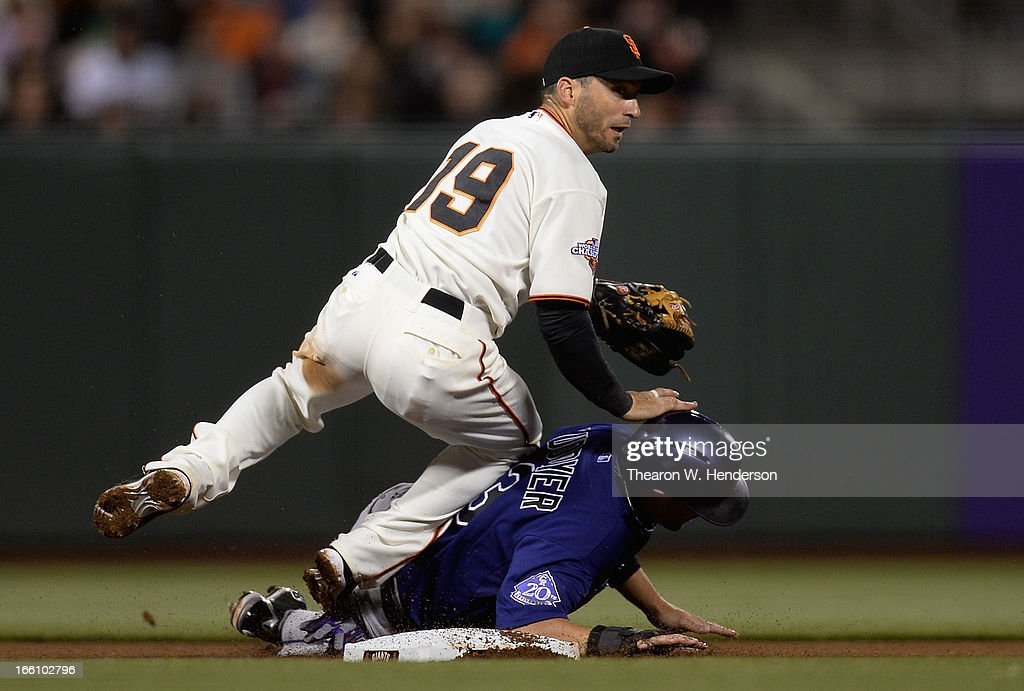 <a gi-track='captionPersonalityLinkClicked' href=/galleries/search?phrase=Marco+Scutaro&family=editorial&specificpeople=239523 ng-click='$event.stopPropagation()'>Marco Scutaro</a> #19 of the San Francisco Giants lands on top of <a gi-track='captionPersonalityLinkClicked' href=/galleries/search?phrase=Michael+Cuddyer&family=editorial&specificpeople=208127 ng-click='$event.stopPropagation()'>Michael Cuddyer</a> #3 of the Colorado Rockies after Scutaro got his throw off to complete the double-play in the fourth inning at AT&T Park on April 8, 2013 in San Francisco, California.