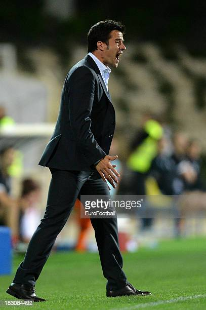Marco Silva coach of Estoril Praia during the UEFA Europa League group stage match between Estoril Praia and Sevilla FC held on September 19 2013 at...