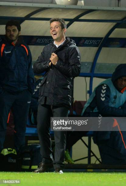 Marco Silva coach of Estoril Praia during the UEFA Europa League group stage match between FC Slovan Liberec and Estoril Praia held on October 3 2013...
