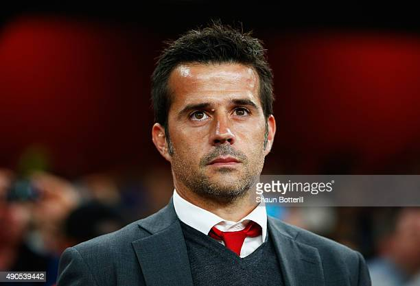 Marco Silva coach of Olympiacos looks on during the UEFA Champions League Group F match between Arsenal FC and Olympiacos FC at the Emirates Stadium...