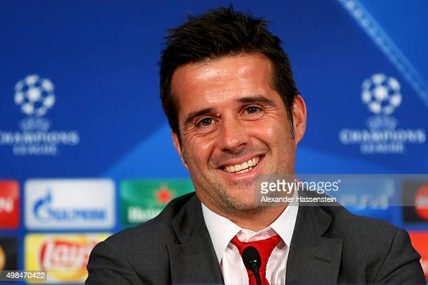 Marco Silva head coach of Olympiacos smiles during a Olympiacos FC press conference on the eve of their UEFA Champions League match against FC Bayern...