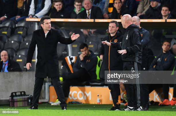 Marco Silva Manager of Hull City and Steve Agnew caretaker manager of Middlesbrough argue during the Premier League match between Hull City and...