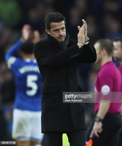 Marco Silva manager of Hull City applauds the crowd after defeat in the Premier League match between Everton and Hull City at Goodison Park on March...