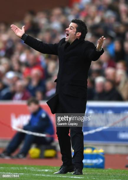 Marco Silva Manager of Hull City gives his team instructions during the Premier League match between Stoke City and Hull City at Bet365 Stadium on...