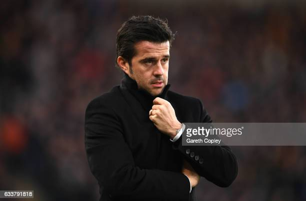 Marco Silva Manager of Hull City looks on during the Premier League match between Hull City and Liverpool at KCOM Stadium on February 4 2017 in Hull...