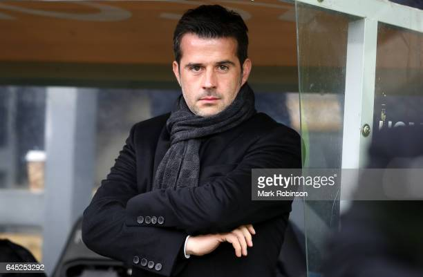 Marco Silva Manager of Hull City looks on during the Premier League match between Hull City and Burnley at KCOM Stadium on February 25 2017 in Hull...
