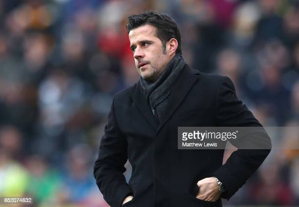 Marco Silva Manager of Hull City looks on during the Premier League match between Hull City and Swansea City at KCOM Stadium on March 11 2017 in Hull...
