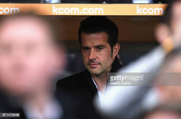 Marco Silva Manager of Hull City looks on during the Premier League match between Hull City and Watford at the KCOM Stadium on April 22 2017 in Hull...