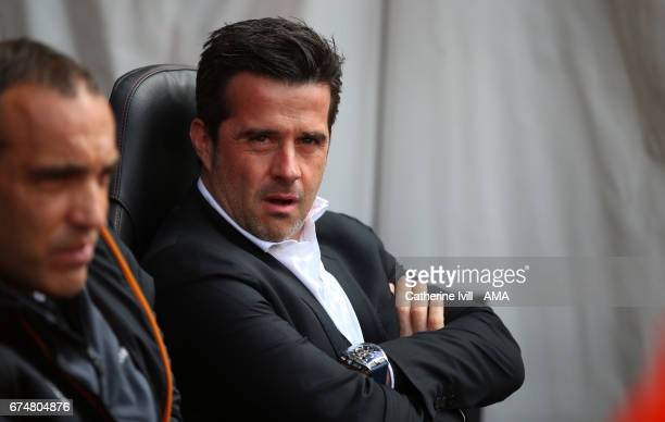 Marco Silva Manager of Hull City looks on during the Premier League match between Southampton and Hull City at St Mary's Stadium on April 29 2017 in...