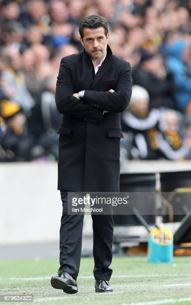 Marco Silva Manager of Hull City looks on during the Premier League match between Hull City and Sunderland at the KCOM Stadium on May 6 2017 in Hull...