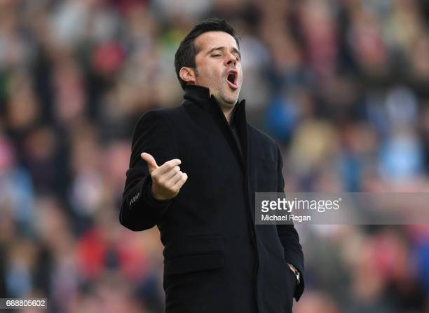 Marco Silva Manager of Hull City reacts during the Premier League match between Stoke City and Hull City at Bet365 Stadium on April 15 2017 in Stoke...