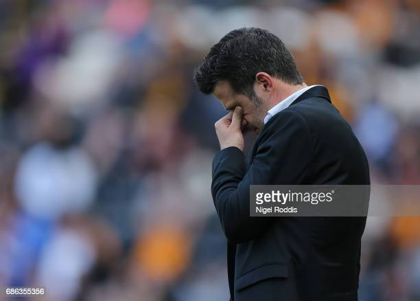 Marco Silva manager of Hull City reacts during the Premier League match between Hull City and Tottenham Hotspur at KC Stadium on May 21 2017 in Hull...